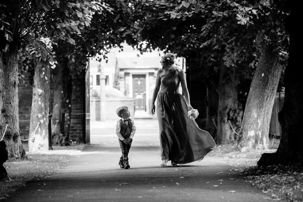Page boy and bridesmaid in Black and White